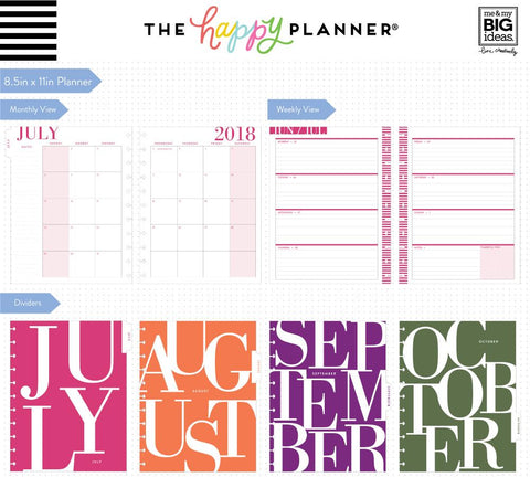 Happy Planner  BIG 18 Month DATED - Colorblock Type