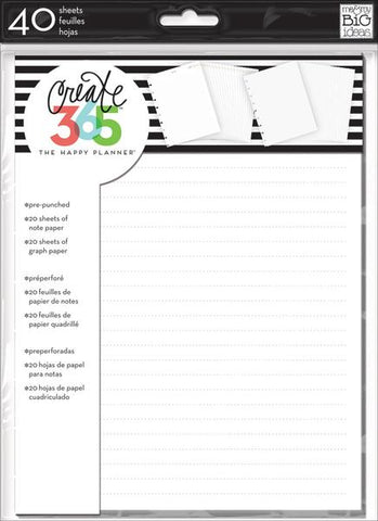 The Happy Planner Classic Fill Paper - Note & Graph Paper