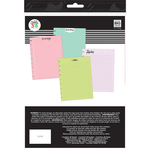 The Classic Happy Planner - Coloured Fill Paper