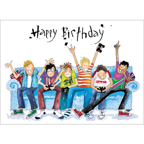 Greeting Card - Gaming Sofa Birthday