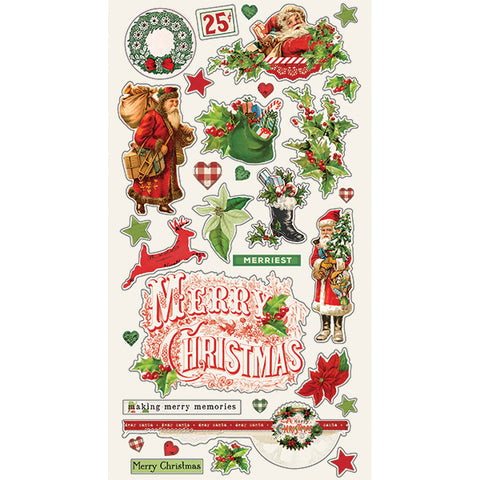 Simple Stories Chipboard Stickers - Vintage Christmas