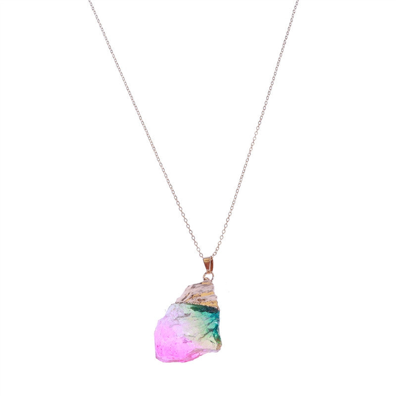 Natural Stone Elegant Women Wedding Colorful Crystal Pendant Necklace