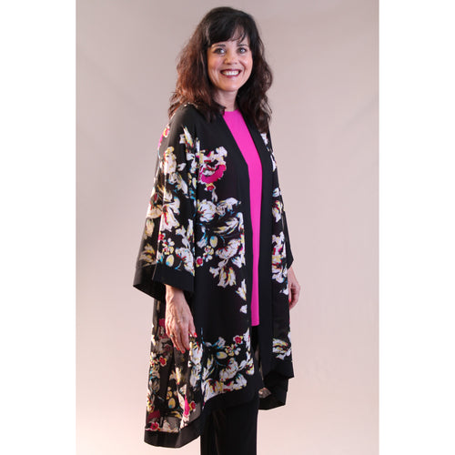 Sympli Whisper Long Kimono Black - Fashion Crossroads Inc