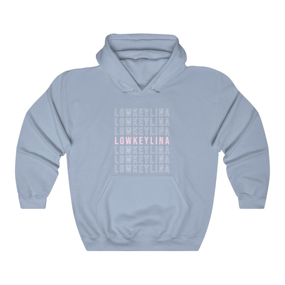 LOWKEYLINA Blue with Pink Hoodie