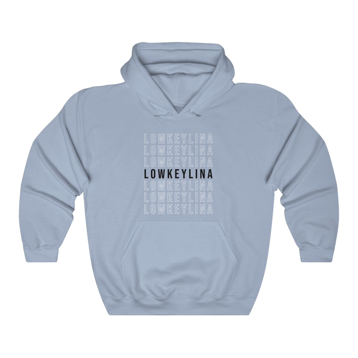 LOWKEYLINA Blue with Black Hoodie