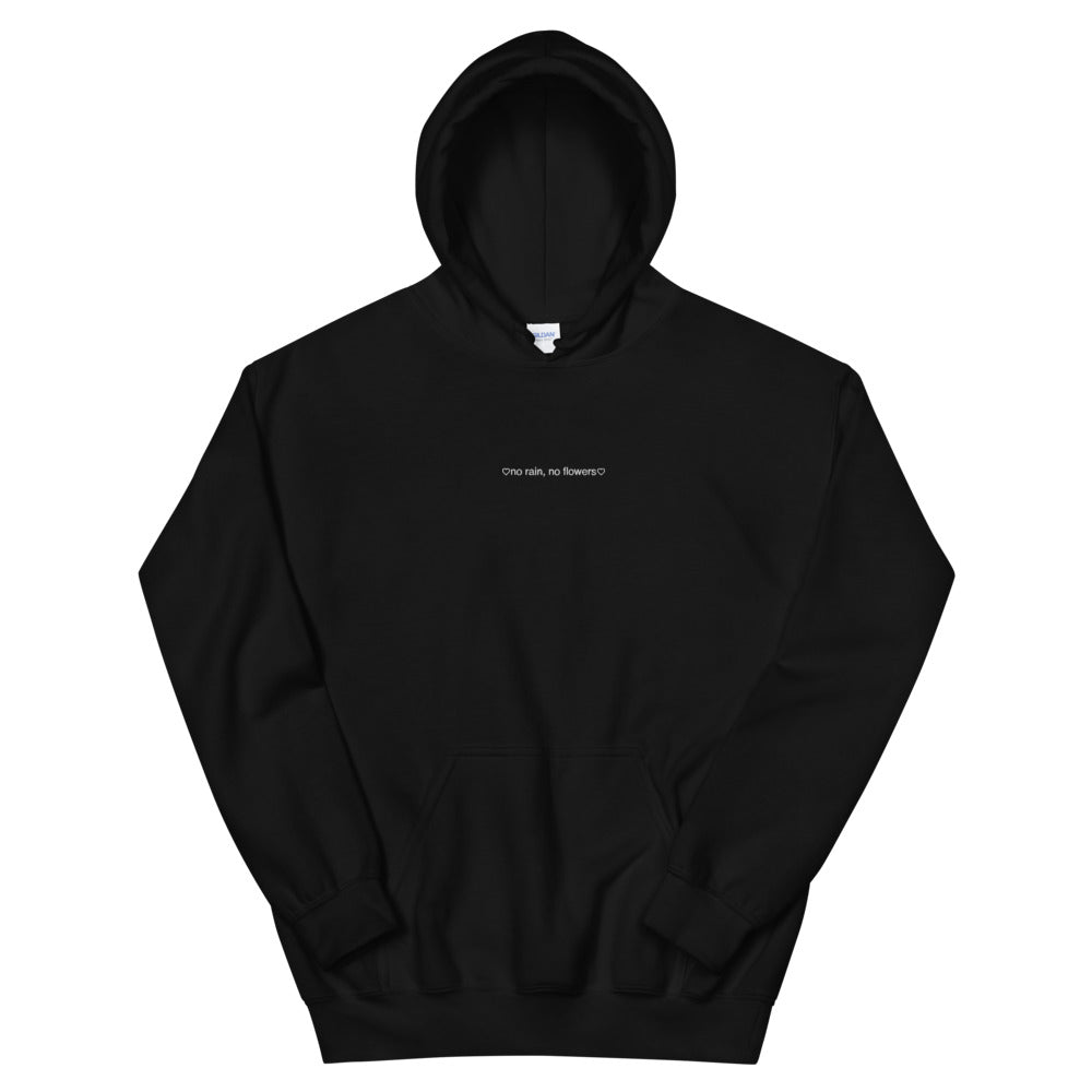 krgxoxo No Rain No Flowers Embroidered Unisex Hoodie