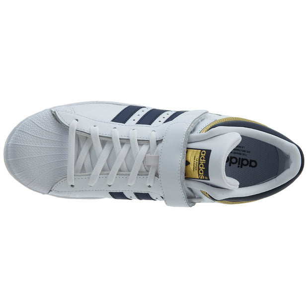 Adidas Pro Shell White Collegiate Navy Gold Leather Mens Style :BY4383