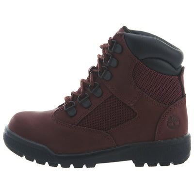 "Timberland 6"" Field Boots Little Kids Style : Tb0a1ato-Burgundy"