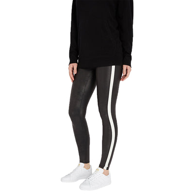 Spanx Faux Leather Stripe Legging Womens Style : 20187r-VRYBLK/WHITE