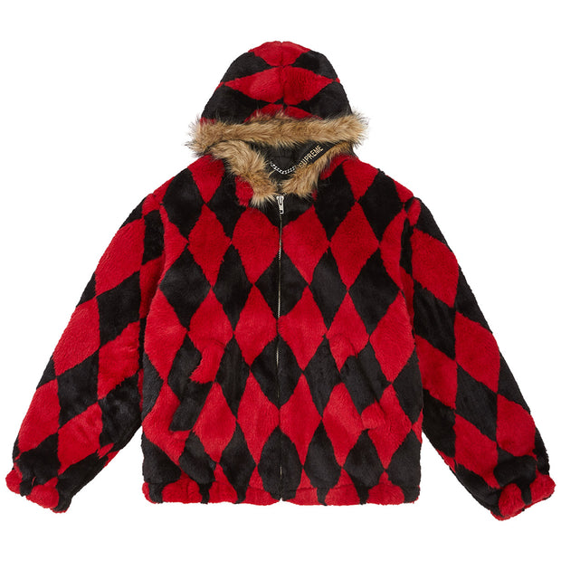 Supreme Diamond Faux Fur Jacket Mens Style : Fw18j73-RED