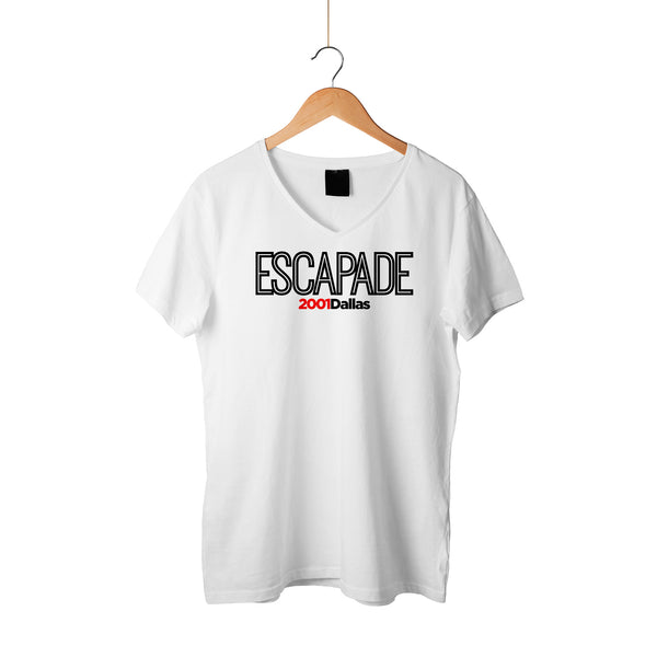 Escapade Inline Chest White Shirt Black Letters