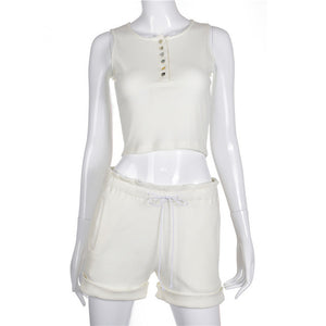 All white 2pc linen shorts suit
