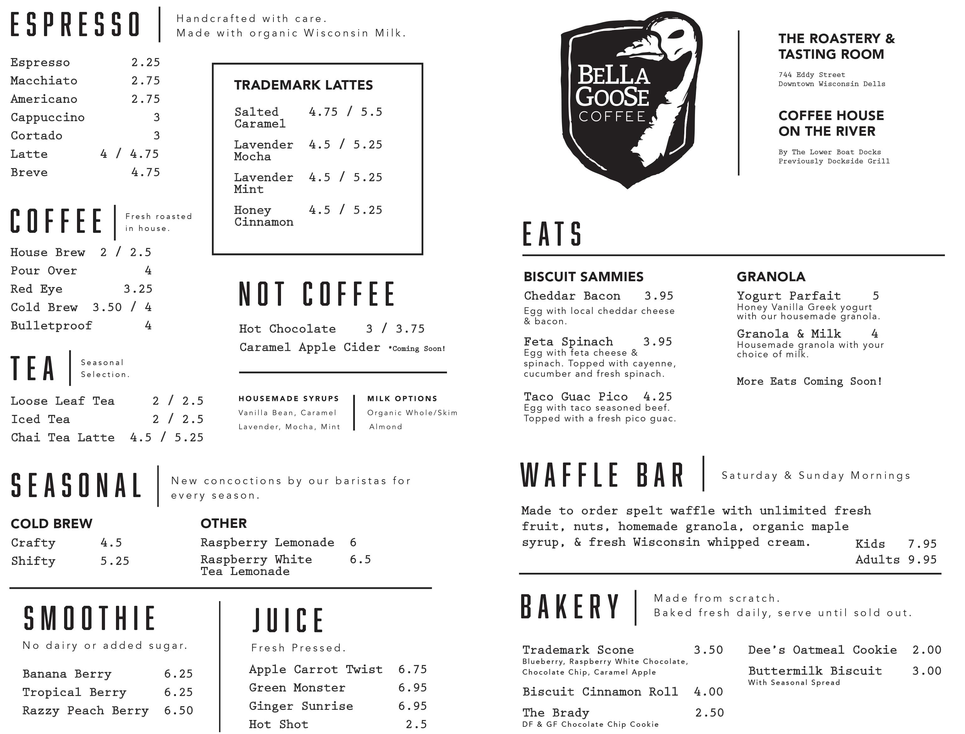Bella Goose - Wisconsin Dells Shop Menu