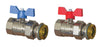 "Pair of Progress Ball Valves Male - Revolving Nut with Butterfly Handle 1"" F"