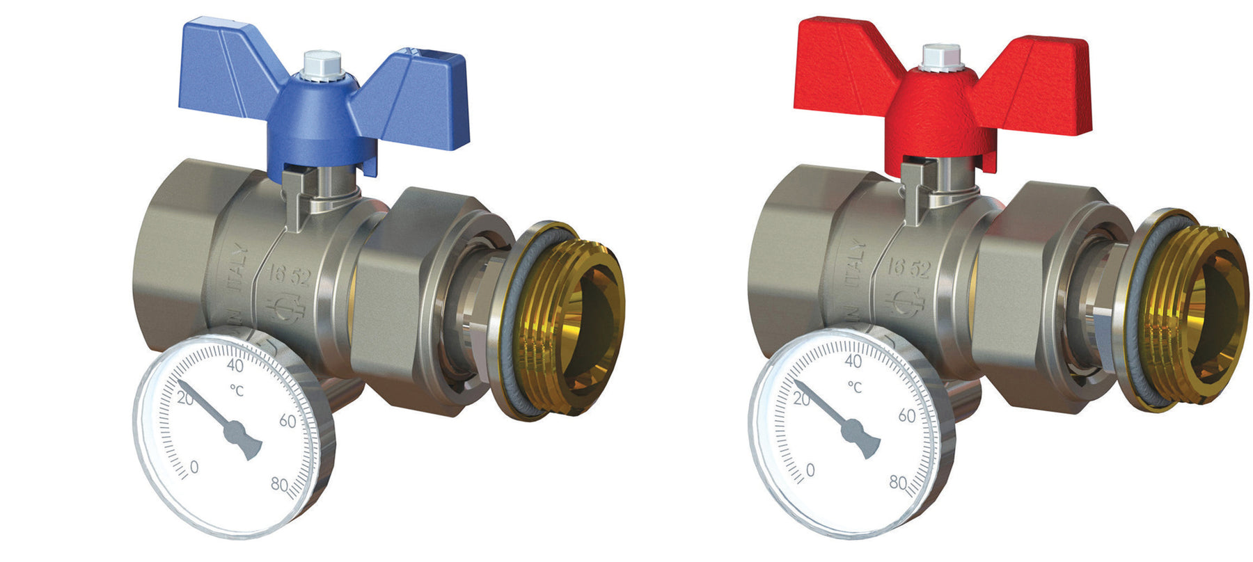 Pair Straight Progress Ball Valves with Offset Temperature Gauge