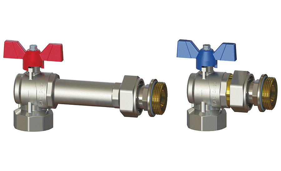 Pair of Right Angle Progress Ball Valves, Female-Male with Union Connection