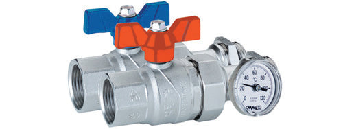 Pair Straight Progress Ball Valves with Female - Male Union Connection with Inline Temperature Gauge
