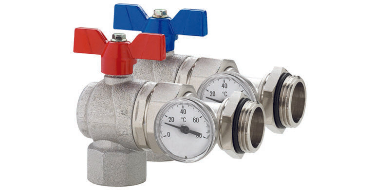 Pair Right-Angle Progress Ball Valves with Inline Temperature Gauge, Female - Male Union Connection