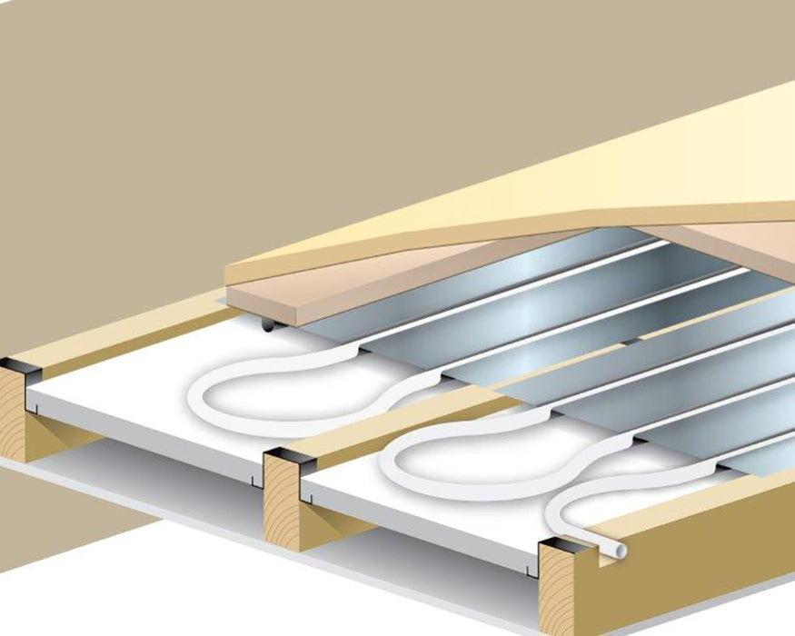 140sqm Suspended Floor (600mm Joists) Plate Underfloor Heating Kit for Heat Pumps - Standard Output (200mm Centres)