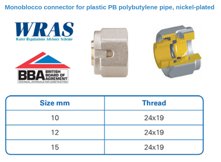 Monoblocco Connectors - Plastic PB Pipe Diagram
