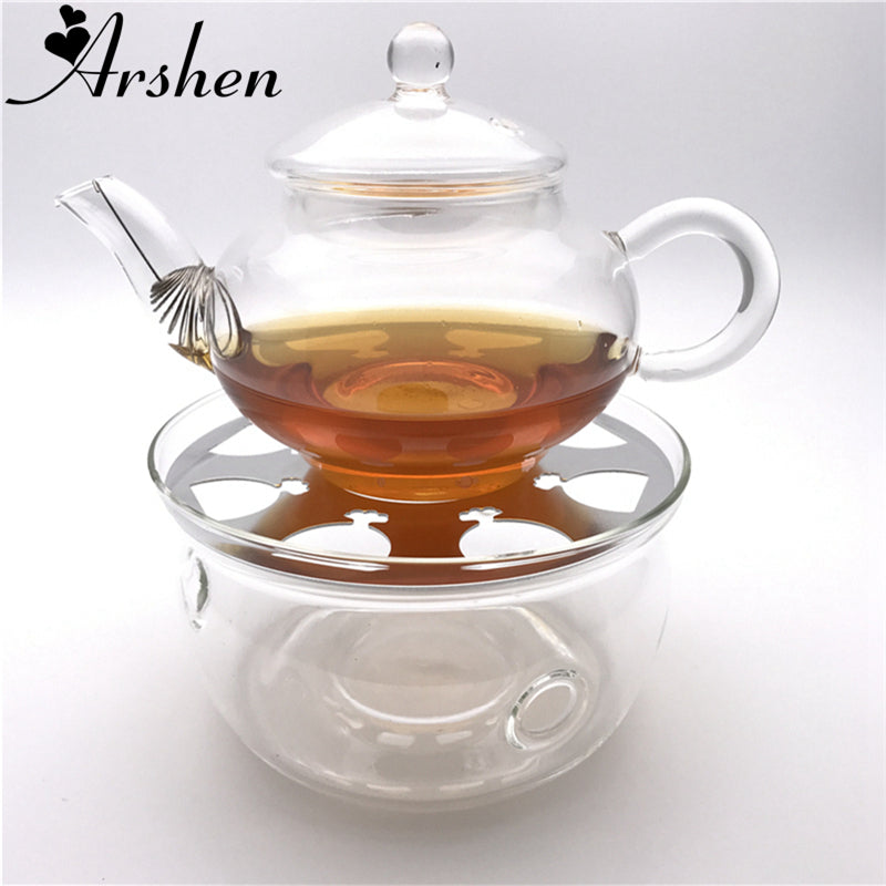 Arshen Durable Heat-Resisting Glass Crystal Teapot Coffee Water Scented Tea Warmer