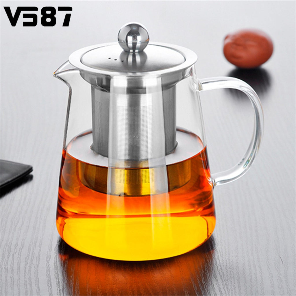 750/950ml Clear Heat Resistant Glass Tea Pot Kettle With Stainless Steel Infuser Filter Tea Jar Jug Home Office Tea Coffee Tools