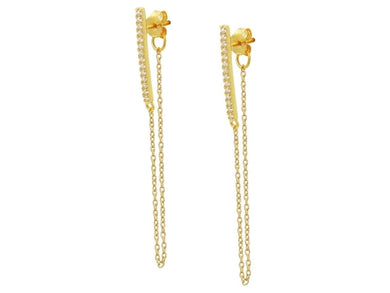 14k Gold over Silver Bar & Chain Studs, 1.75
