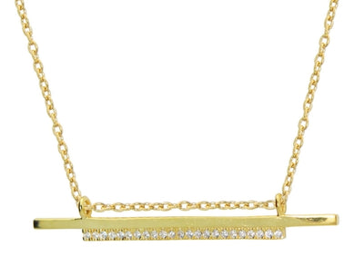 Double Sideways Cz Flashbar Necklace in Gold