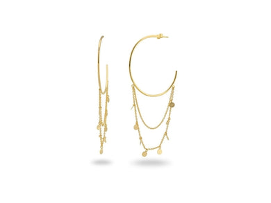 18k Gold Pl Silver Charms-Chain & Hoops, 1.5