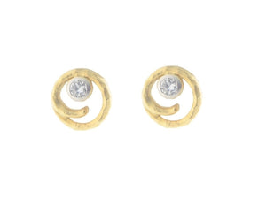 Satin Hammered Gold Tone & CZ Swirl Stud Earrings