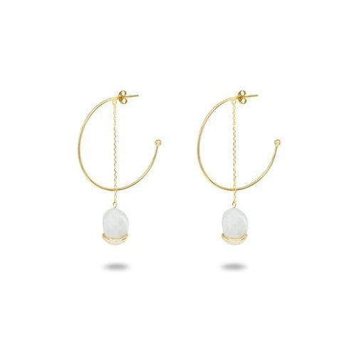 Dangling Gold Capped Pearl Hoop Earrings