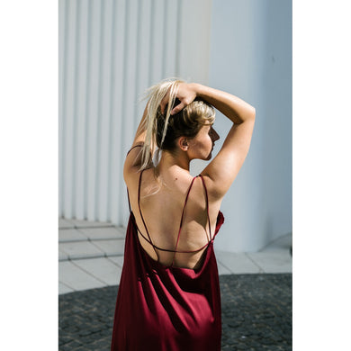 Bareback burgundy dress