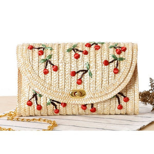 Gorgeous Straw Handbag Embroidered with Cherries