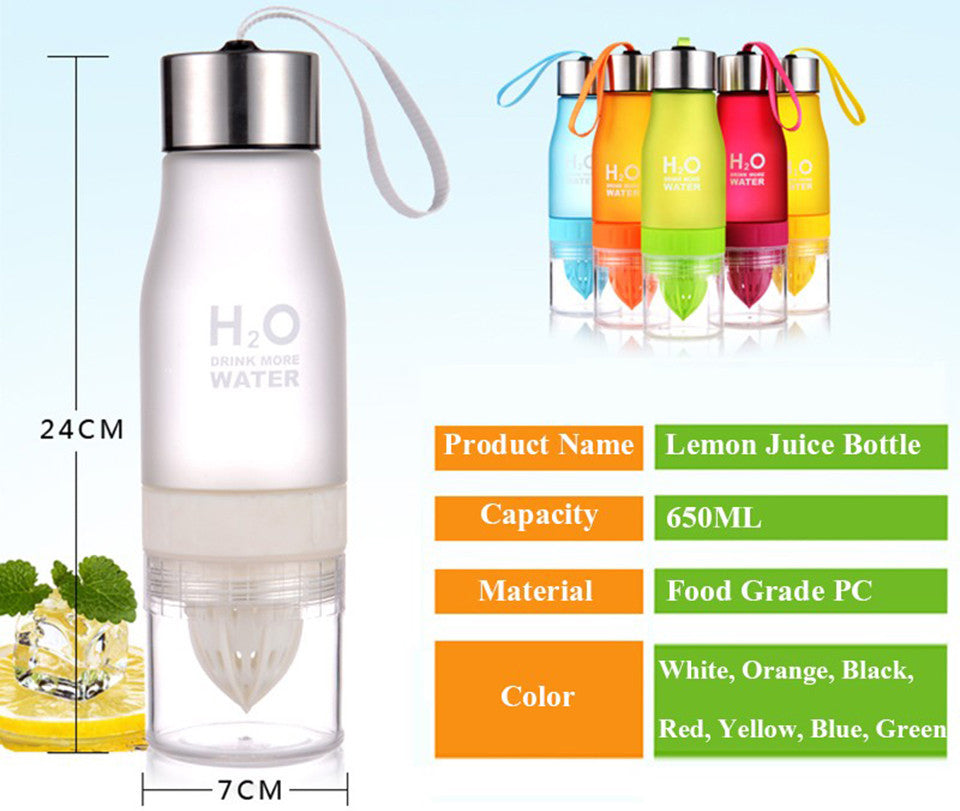 BPA-Free Plastic Water Bottle With Fruit Infuser in 7 Bright Colors (650ml)