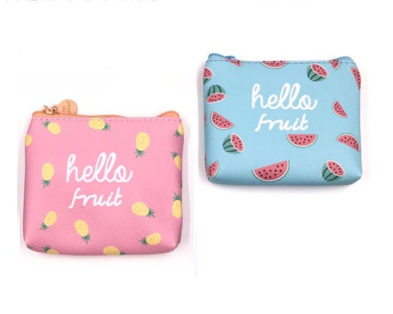 "Cute Purse ""Hello Fruits"" in Pink with Pineapples or Blue with Watermelons"