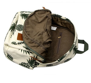 Stylish Vintage Backpack With Pineapple Print