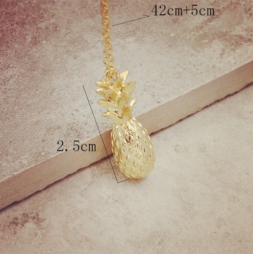 Tiny Golden Pineapple Necklace for Fruit Fans