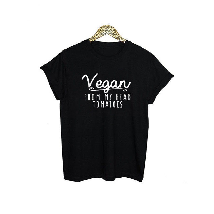 "T-Shirt for Girls and Women with Funny Print ""Vegan From My Head Tomatoes"""
