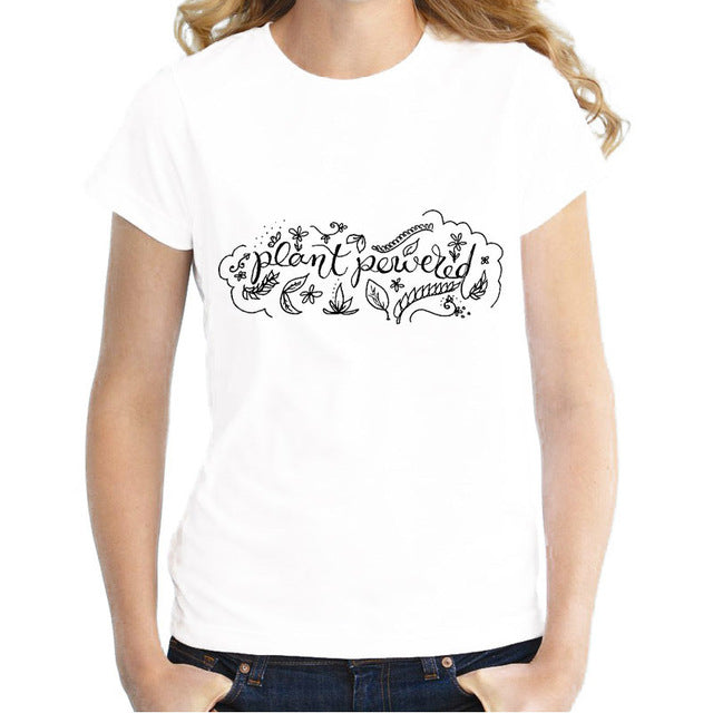 "T-Shirt for Girls & Women with Inspirational Print ""Plant Powered"""