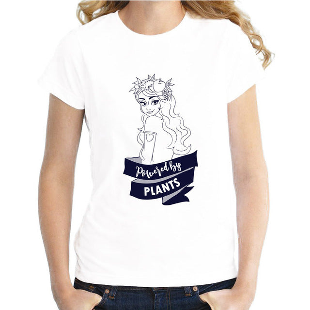 "T-Shirt for Girls & Women with Print of Cute Girl ""Powered by Plants"""