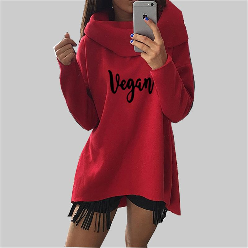 "Long Sleeve Shirt With Big Collar and ""Vegan"" Print in 3 Stylish Colors"