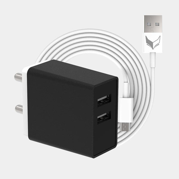 VoxForth's BIS certified black 3.1A Smart Charger with dual ports and a 1metre Micro USB cable.