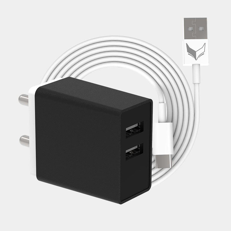 VoxForth's BIS certified black 3.1A Smart Charger with dual ports and a 1metre TypeC cable.