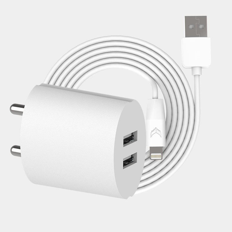 VoxForth's BIS certified white 2.1A Dual Charger- Oval with dual ports and a 1metre Lightning cable.