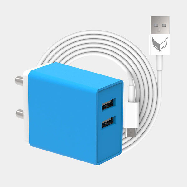 VoxForth's BIS certified blue 2.1A Dual Charger- Hunky with dual ports and a 1metre Micro USB cable.