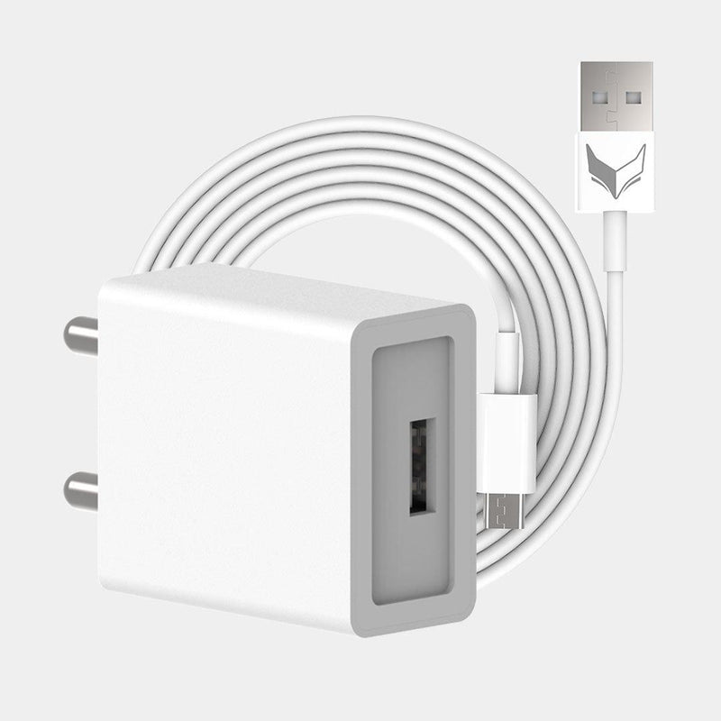 VoxForth's BIS certified white 2A Essential Charger with a single port and a 1metre Micro USB cable.