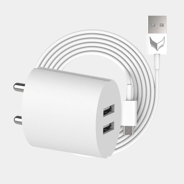 VoxForth's BIS certified white 2.1A Dual Charger- Oval with dual ports and a 1metre Micro USB cable.
