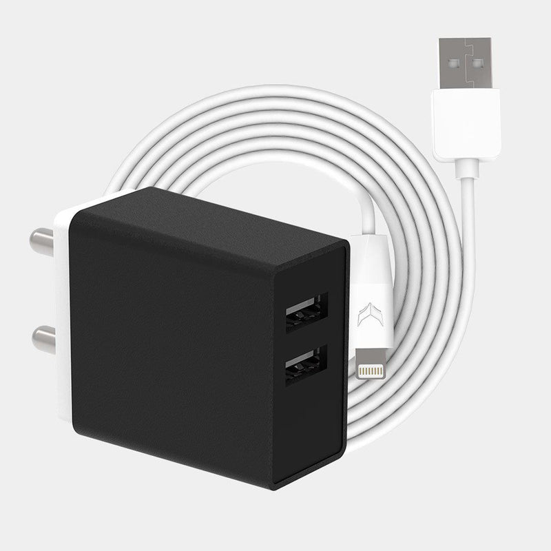 VoxForth's BIS certified black 3.1A Smart Charger with dual ports and a 1metre Lightning cable.
