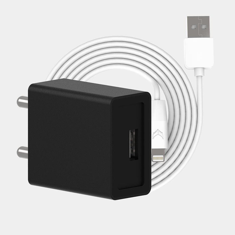 VoxForth's BIS certified black 2A Essential Charger with a single port and a 1metre Lightning cable.