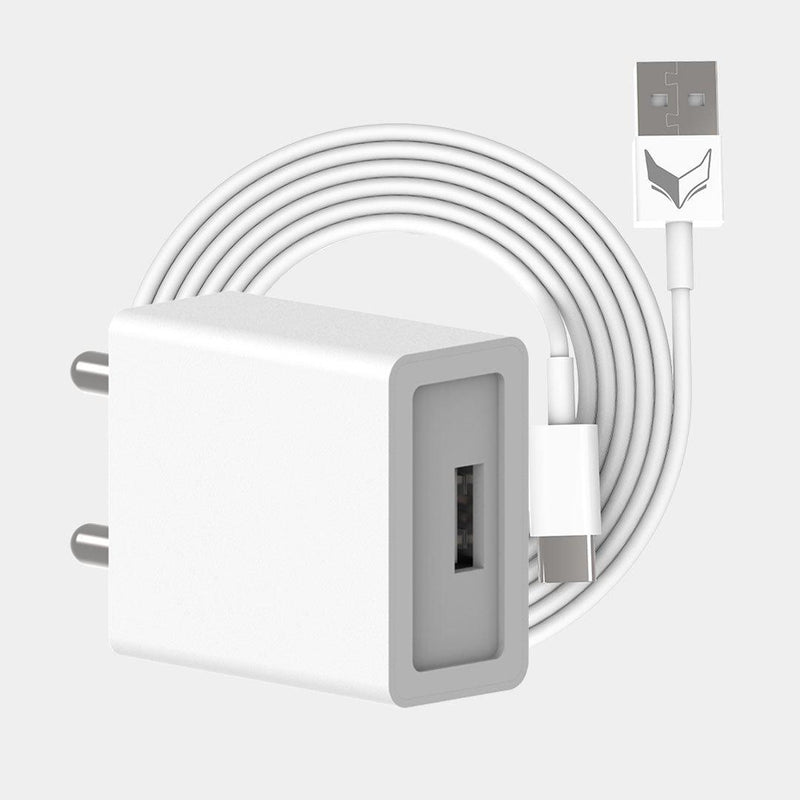 VoxForth's BIS certified white 2A Essential Charger with a single port and a 1metre TypeC cable.